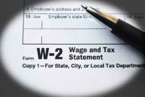 W-2 Tax Form Document Close Up With Black Frame