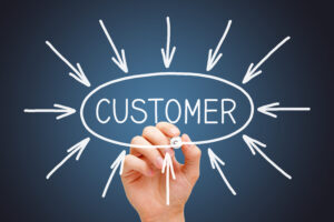 Hand drawing arrows pointing at the word customer to illustrate a client-centric focus