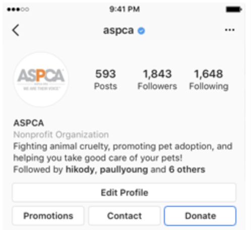 The ASPCA shows Instagram's donate button on their profile. This is one of the features that make Instagram a great nonprofit fundraising app.